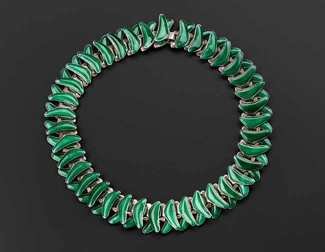 Articulated necklace, silver and enamel, designed by Grete Prytz Kittelsen (1917–2010) in 1952, for J Tolstrup, Norway copyright National Museums Scotland