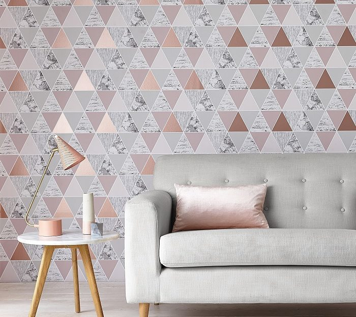 Graham and Brown Geometric rose gold wallpaper
